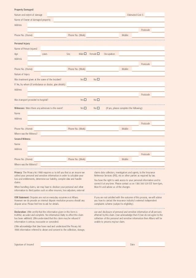 Allianz Liability Claim Form