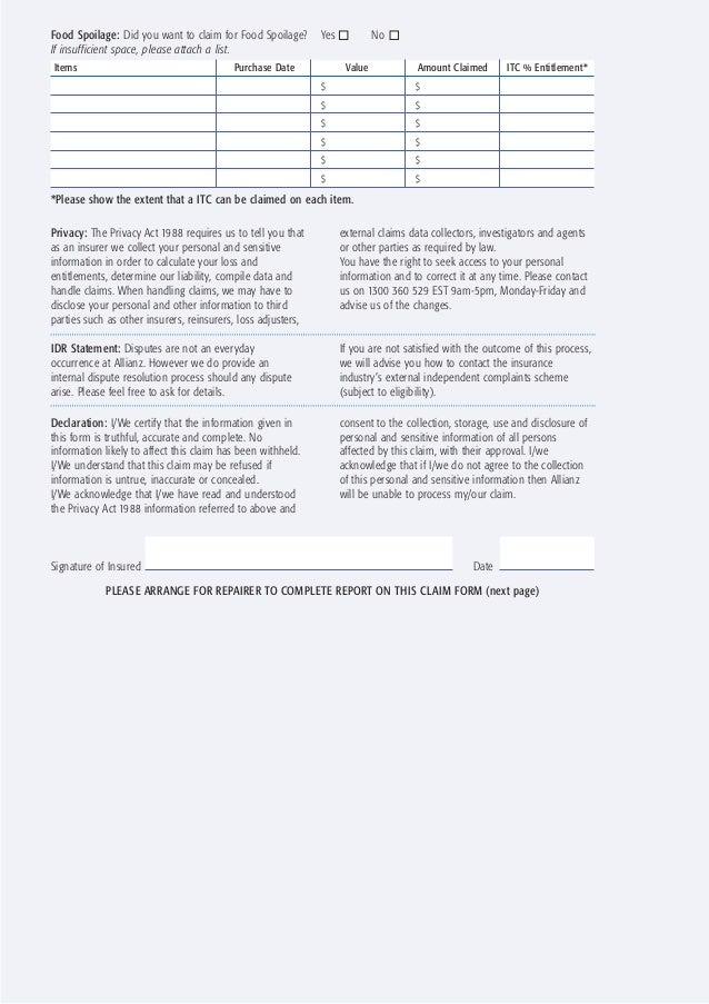 Allianz Machinery Breakdown Claim Form