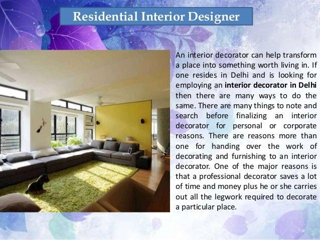Choose An Interior Decorator In Delhi