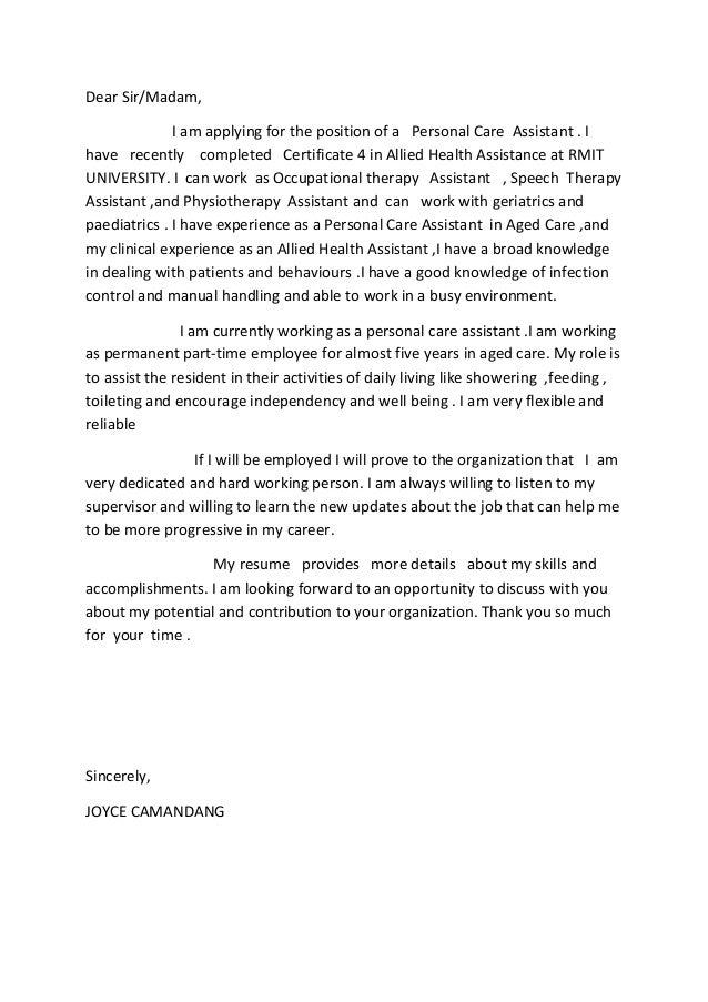Allied health assistance cover letter for Explore learning cover letter