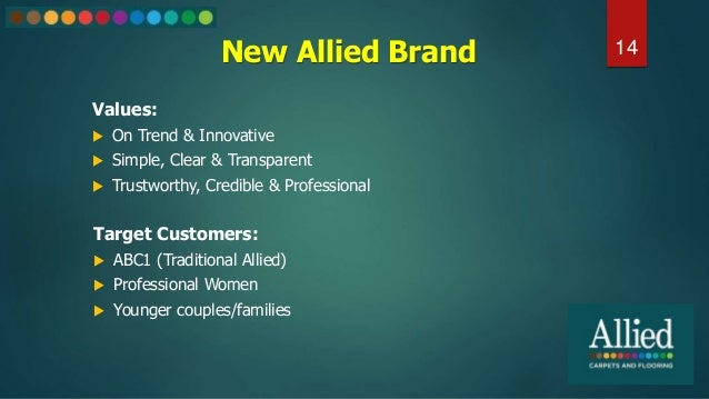New Allied Brand Values:  On Trend & Innovative  Simple, Clear & Transparent  Trustworthy, Credible & Professional 14 T...
