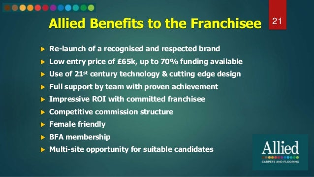 Allied Benefits to the Franchisee 21  Re-launch of a recognised and respected brand  Low entry price of £65k, up to 70% ...