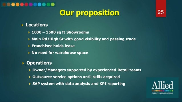 Our proposition  Locations  1000 – 1500 sq ft Showrooms  Main Rd/High St with good visibility and passing trade  Franc...