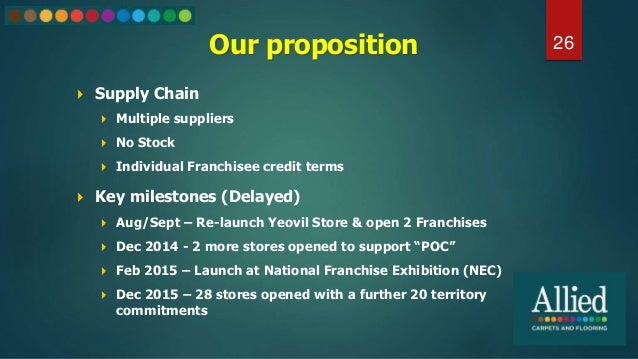 Our proposition  Supply Chain  Multiple suppliers  No Stock  Individual Franchisee credit terms 26  Key milestones (D...