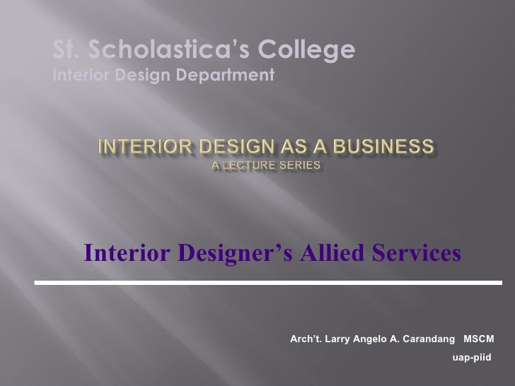 Interior Design Lesson Plan Basic Services 1