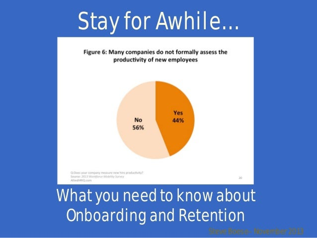 Stay for Awhile…  What you need to know about Onboarding and Retention  Steve Boese– November 2013