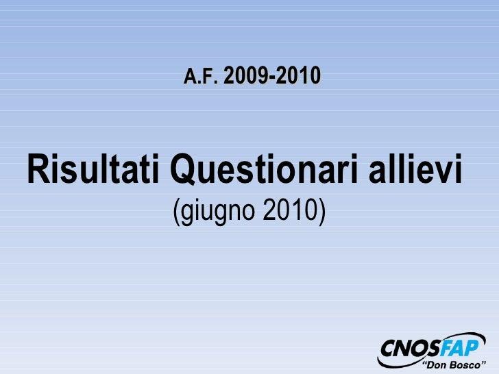 Risultati Questionari allievi  (giugno 2010) A.F.  2009-2010