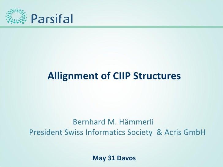 <ul><li>Allignment of CIIP Structures </li></ul>Bernhard M. Hämmerli President Swiss Informatics Society  & Acris GmbH May...