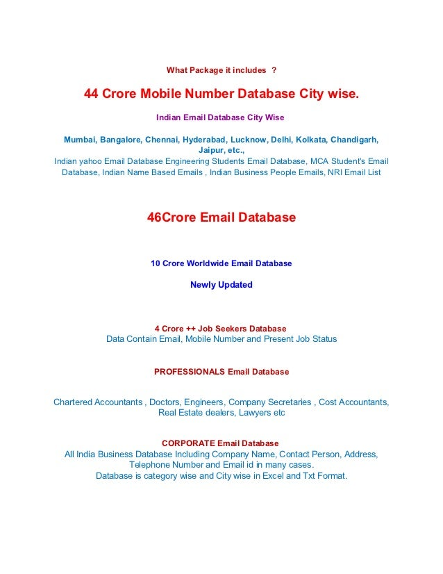 All India 90 Crore Mobile Numbers & Email Database at Rs