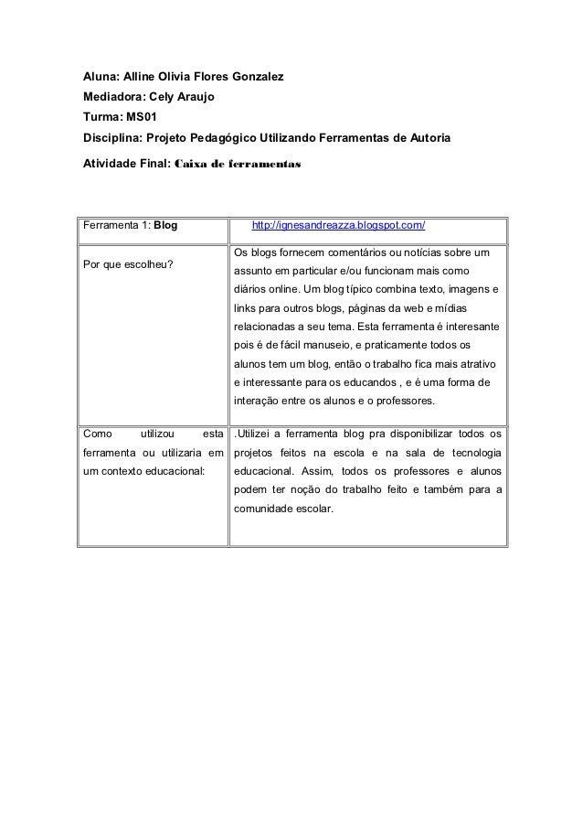 Aluna: Alline Olivia Flores GonzalezMediadora: Cely AraujoTurma: MS01Disciplina: Projeto Pedagógico Utilizando Ferramentas...