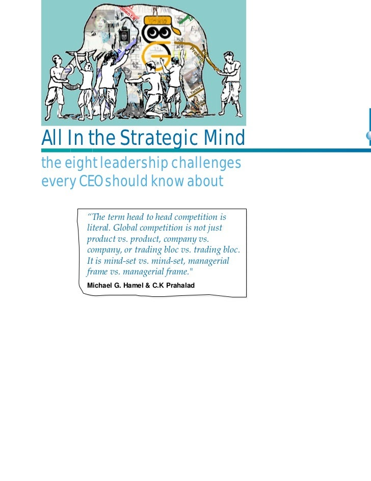 """All In the Strategic Mindthe eight leadership challengesevery CEO should know about       """"The term head to head competiti..."""