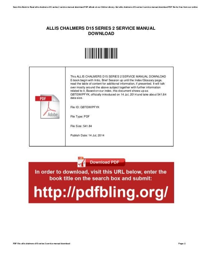 allis chalmers d15 series 2 service manual download rh slideshare net
