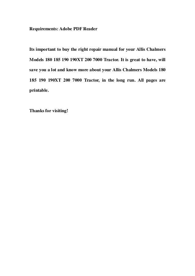 Allis chalmers 185 repair manual