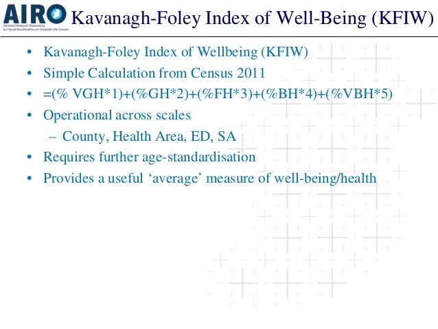 Kavanagh-Foley Index of Well-Being (KFIW)  •  Kavanagh-Foley Index of Wellbeing (KFIW)  •  Simple Calculation from Census ...
