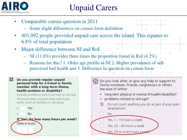 Unpaid Carers  •  Comparable census question in 2011  –  Some slight differences on census form definition  •  401,092 peo...