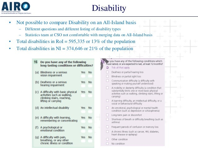 Disability  •  Not possible to compare Disability on an All-Island basis  –  Different questions and different listing of ...