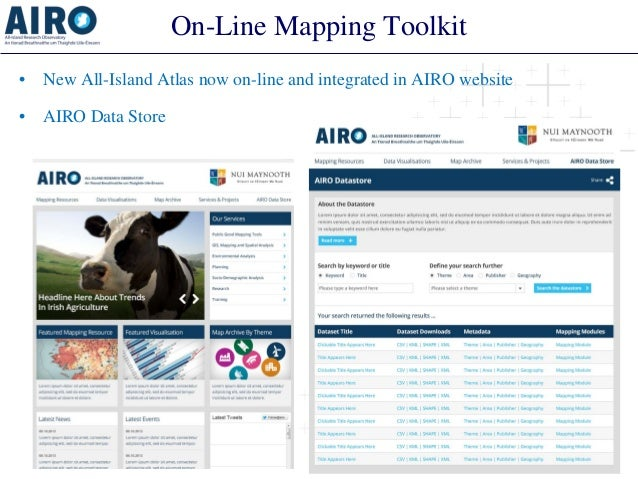 On-Line Mapping Toolkit  •  New All-Island Atlas now on-line and integrated in AIRO website  •  AIRO Data Store