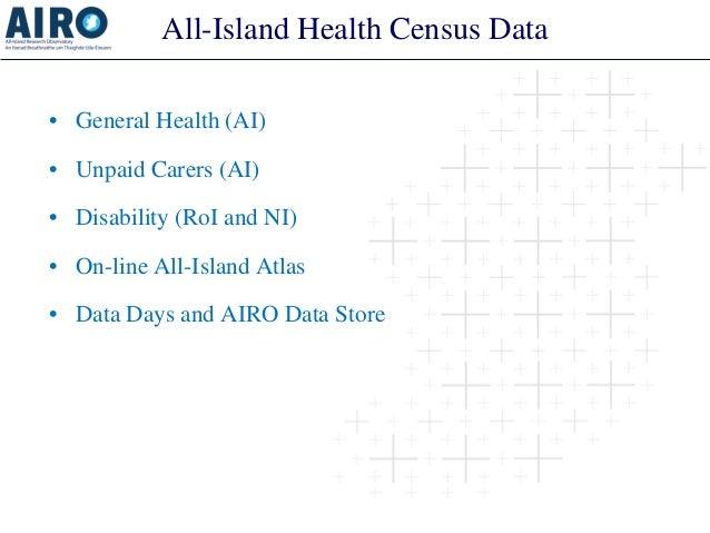 All-Island Health Census Data  •  General Health (AI)  •  Unpaid Carers (AI)  •  Disability (RoI and NI)  •  On-line All-I...
