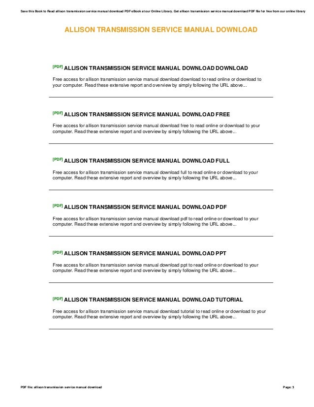 free allison transmission service manual ebook