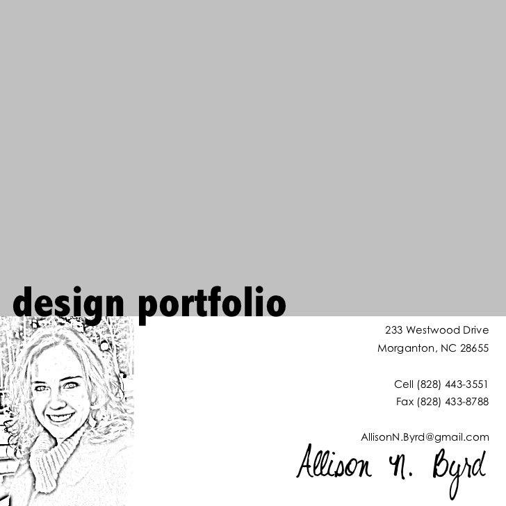 design portfolio            233 Westwood Drive                          Morganton, NC 28655                             Ce...