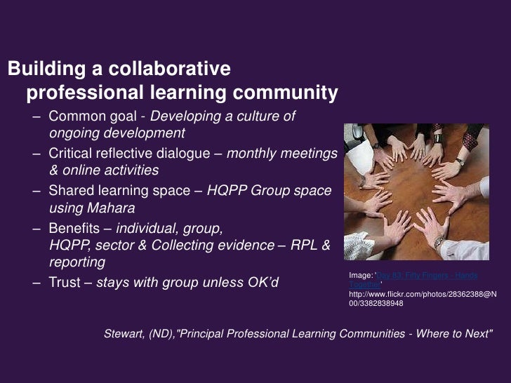 Building a collaborative professional learning community  – Common goal - Developing a culture of    ongoing development  ...
