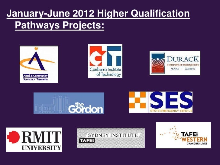 January-June 2012 Higher Qualification  Pathways Projects: