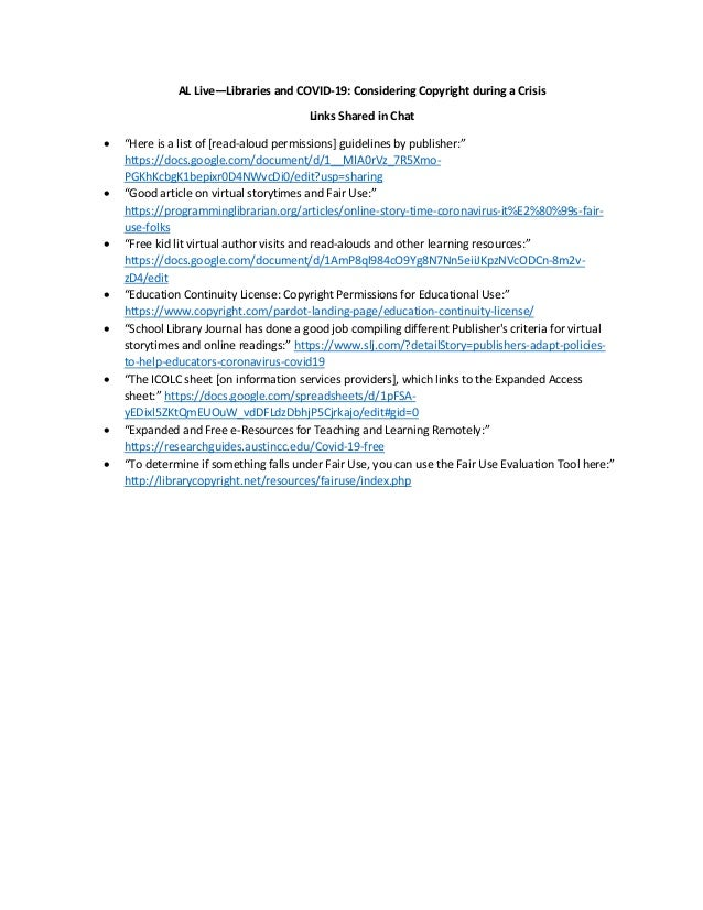 """AL Live—Libraries and COVID-19: Considering Copyright during a Crisis Links Shared in Chat • """"Here is a list of [read-alou..."""