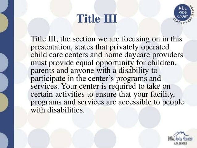Child Care Provider's Rights and Responsibilities under the Americans…