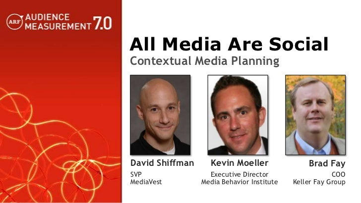 All Media Are SocialContextual Media PlanningDavid Shiffman     Kevin Moeller                Brad FaySVP                Ex...