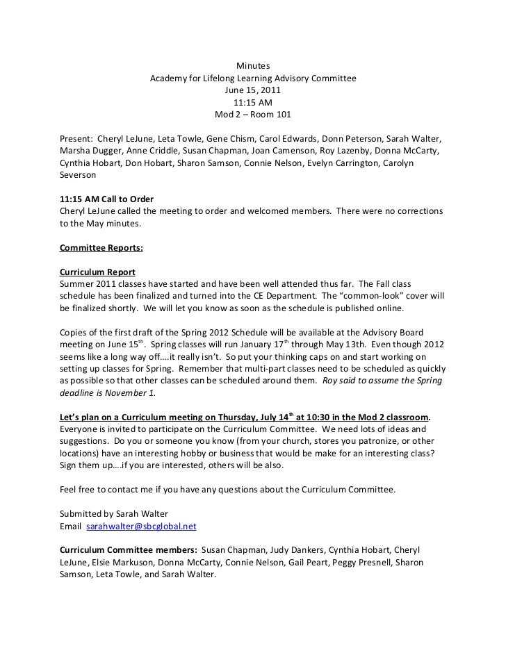 Minutes                      Academy for Lifelong Learning Advisory Committee                                        June ...