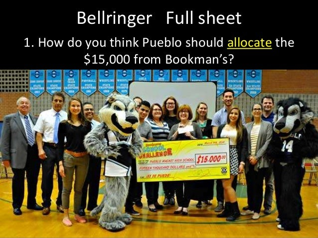 Bellringer Full sheet 1. How do you think Pueblo should allocate the $15,000 from Bookman's?