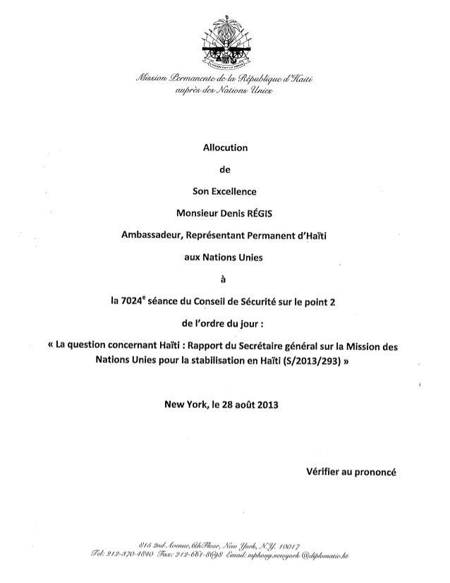 """""""Pour l'édification du public, voici le texte de l'allocution du Représentant Permanent d'Haïti auprès des Nations Unies, ..."""