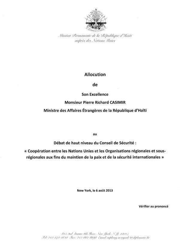 Allocution du ministre des Affaires Etrangères au débat de haut niveau du conseil de sécurité des Nations Unies