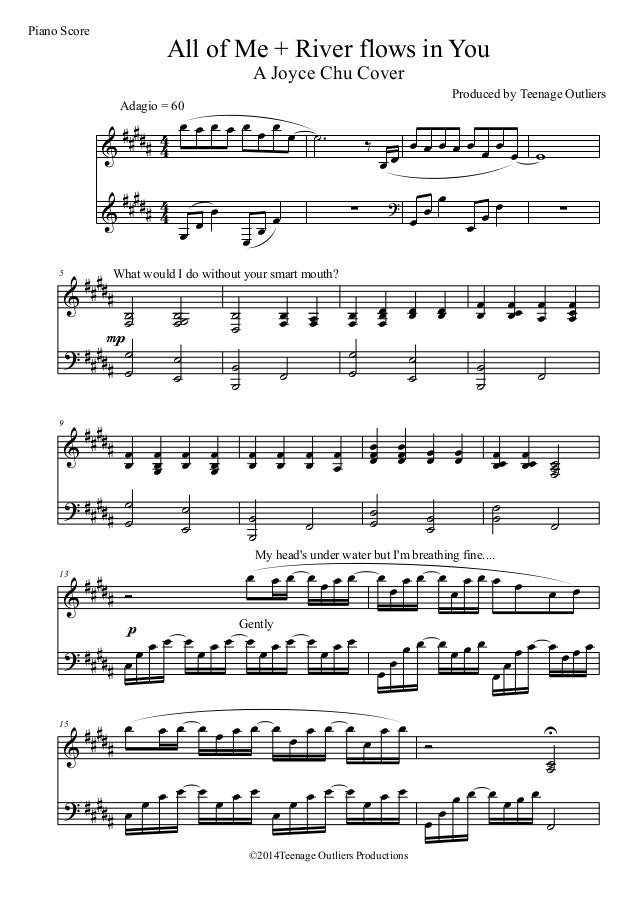 All Music Chords sheet music for river flows in you : All of Me + River Flows In You Official Piano Score