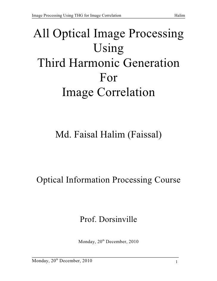 Image Processing Using THG for Image Correlation      HalimAll Optical Image Processing            UsingThird Harmonic Gen...