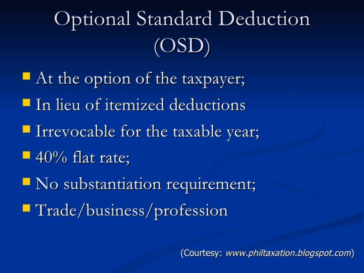 optional standard deduction under train law
