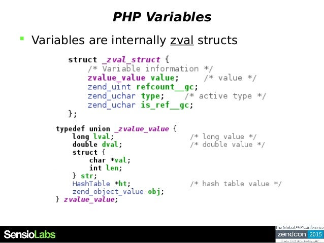 PHP Variables  Variables are internally zval structs