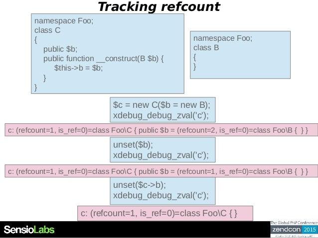 Tracking refcount namespace Foo; class C { public $b; public function __construct(B $b) { $this->b = $b; } } $c = new C($b...