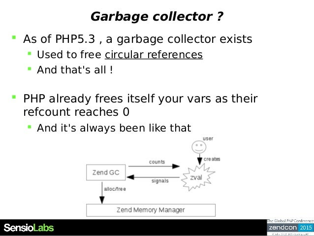 Garbage collector ?  As of PHP5.3 , a garbage collector exists  Used to free circular references  And that's all !  PH...