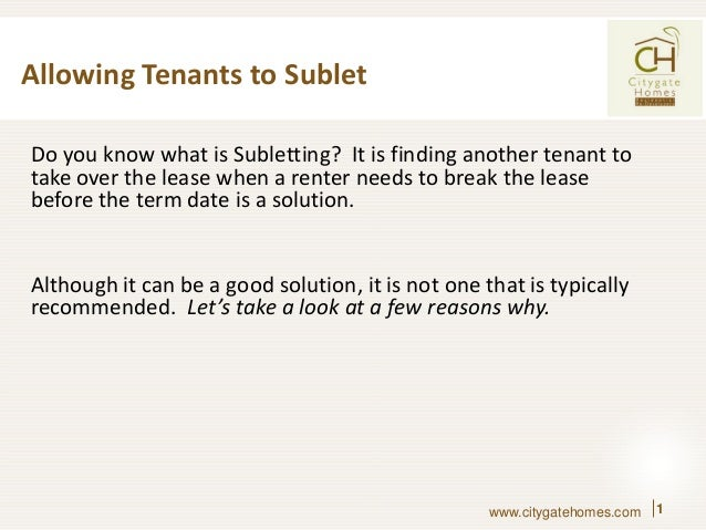 Allowing Tenants To Sublet Do You Know What Is Subletting? It Is Finding  Another Tenant ...