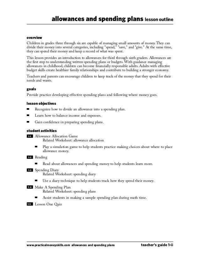 Allownce and spending plan – Spending Plan Worksheet