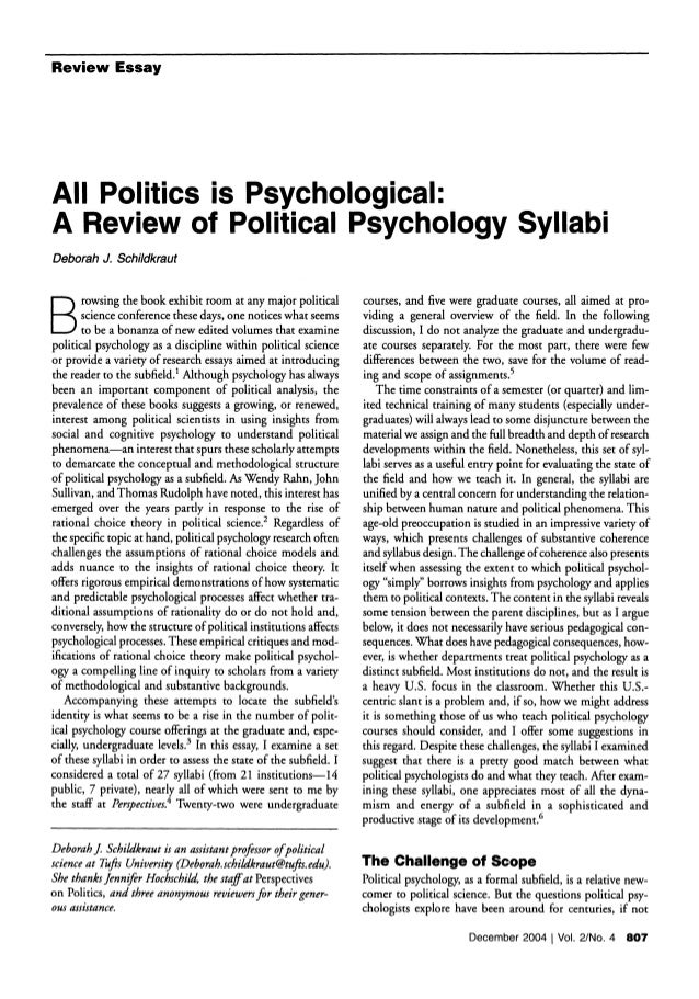 all politics is psychological   review essay all politics is psychological