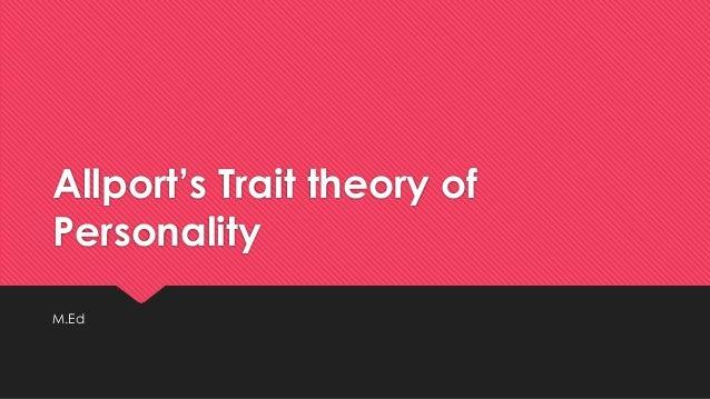 trait theory of personality pdf