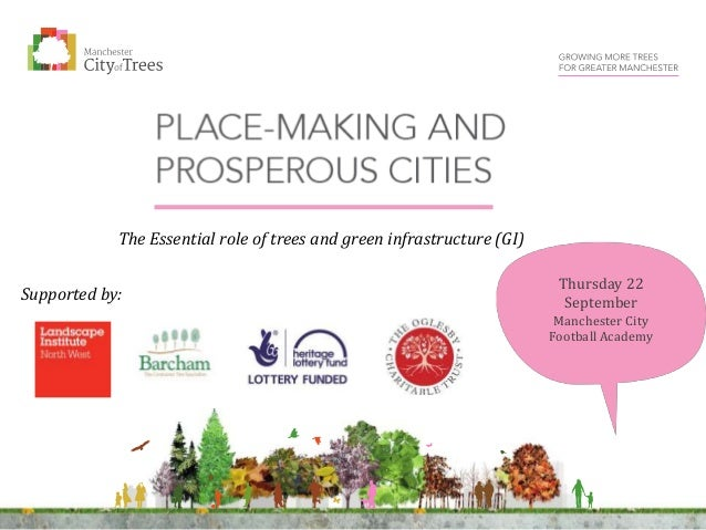 Thursday 22 September Manchester City Football Academy The Essential role of trees and green infrastructure (GI) Supported...