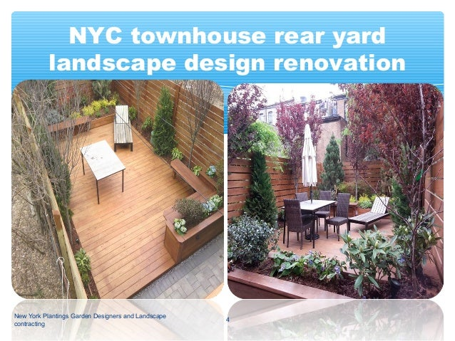 nyc townhouse rear yard landscape design renovation before