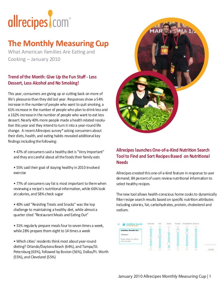 The Monthly Measuring CupWhat American Families Are Eating andCooking – January 2010Trend of the Month: Give Up the Fun St...