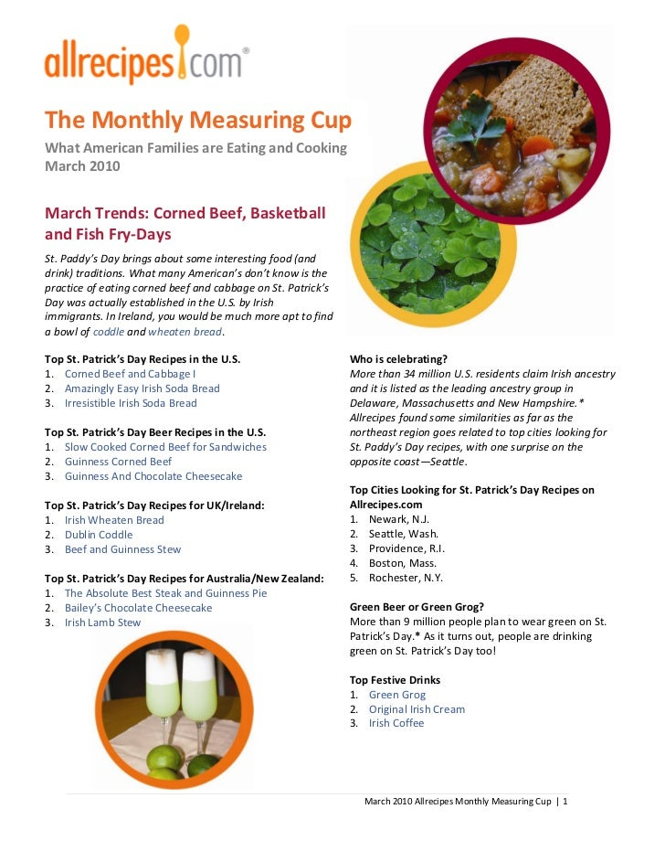 The Monthly Measuring CupWhat American Families are Eating and CookingMarch 2010March Trends: Corned Beef, Basketballand F...