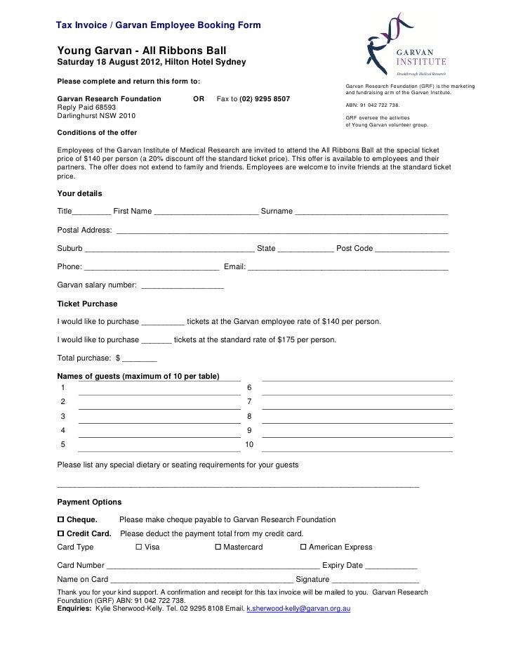 All ribbonsball 2012 garvan staff booking form