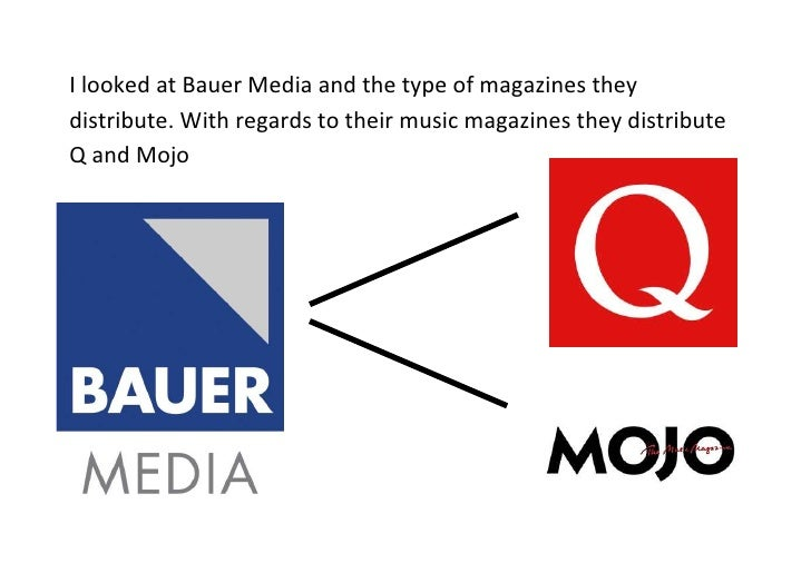 I looked at Bauer Media and the type of magazines theydistribute. With regards to their music magazines they distributeQ a...