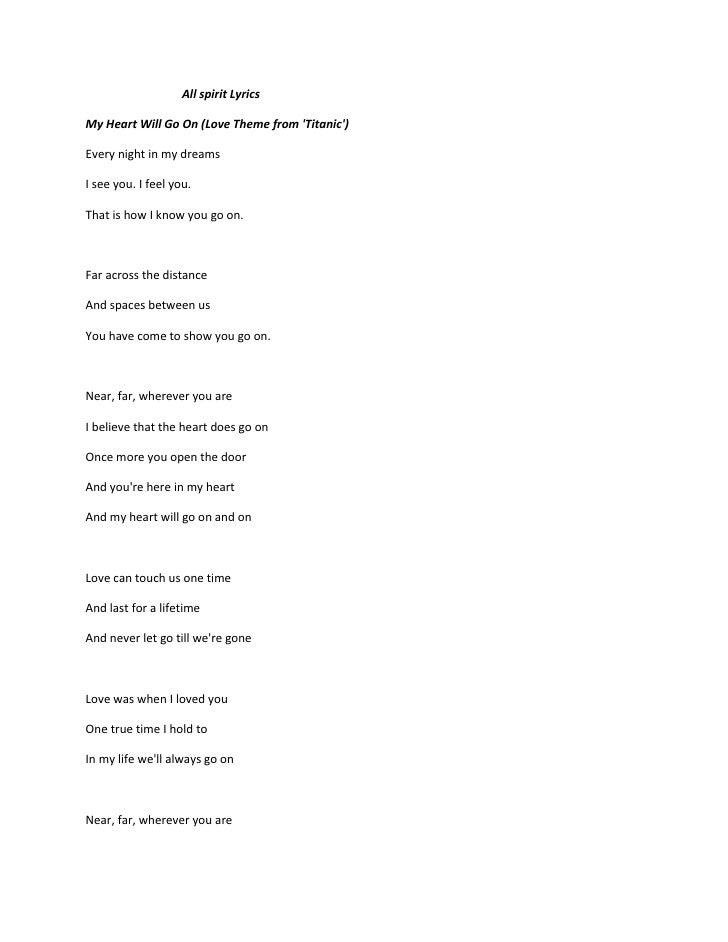 All Spirit Lyrics Titanic